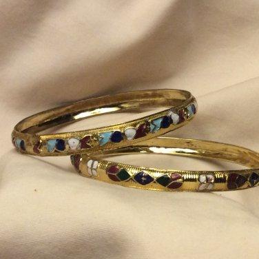 Boho Gold Tone Cloisonne Textured Slip On Bangle Bracelet ( Two )