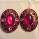 Ellen Design Oval Red & Pink Enamel & Rhinestone Clip On Gold Tone Earrings, VTG