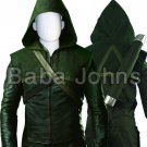 Green Arrow Oliver Queen Faux Leather Costume .All Sizes