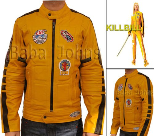 Kill Bill Men's Women's Uma Yellow Bride Motorcycle Biker Unisex Leather Jacket