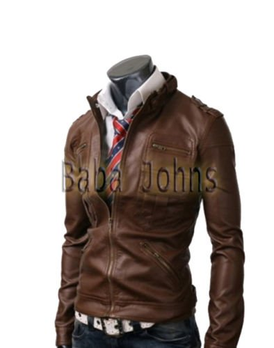 Men's Biker Motorcycle Zip Pocket Slim Fit Genuine / Faux / PU Leather Jacket
