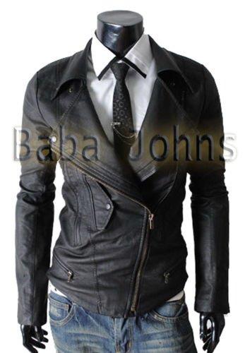 Men's Biker Multi Pocket Slim-Fit Rider Genuine / Faux / PU Fine Leather Jackets
