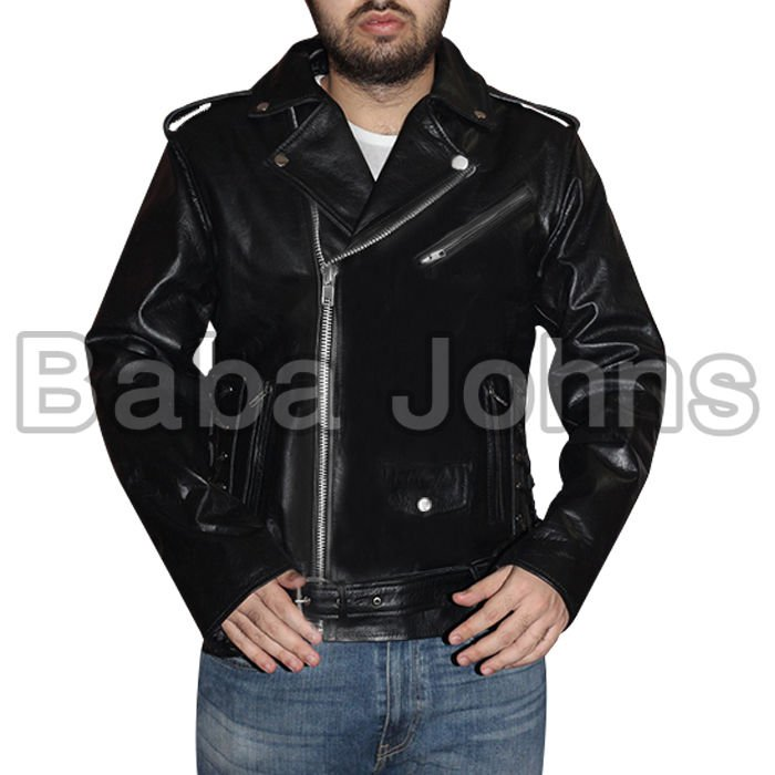 Terminator Men's Black Biker Fashion Leather Jacket High Quality