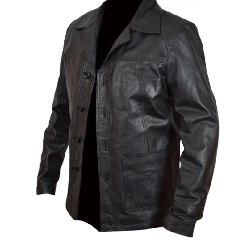 Mens 'KILLING THEM SOFTLY'' Brad Pitt Vintage Black GENUINE Leather Coat/Jacket