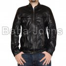 Oblow Zac Efron 17 Again Wrinkled Washed Fine Quality Men's Leather Jacket
