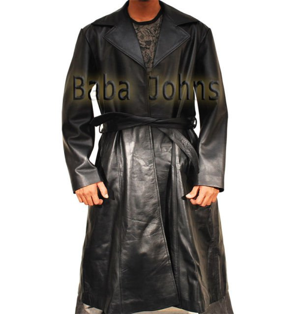 Blade Trinity Wesley Snipes Replica Genuine Men's Leather Long Trench Coat