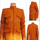 Clark Chester Vintage Slim fit Men's Leather Jacket Military Coat Camel Brown