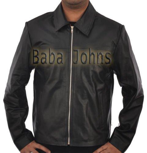 Layer Cake Daniel Craig Retro Slim Fit Men's Leather Jacket w/ Red Velvet Lining