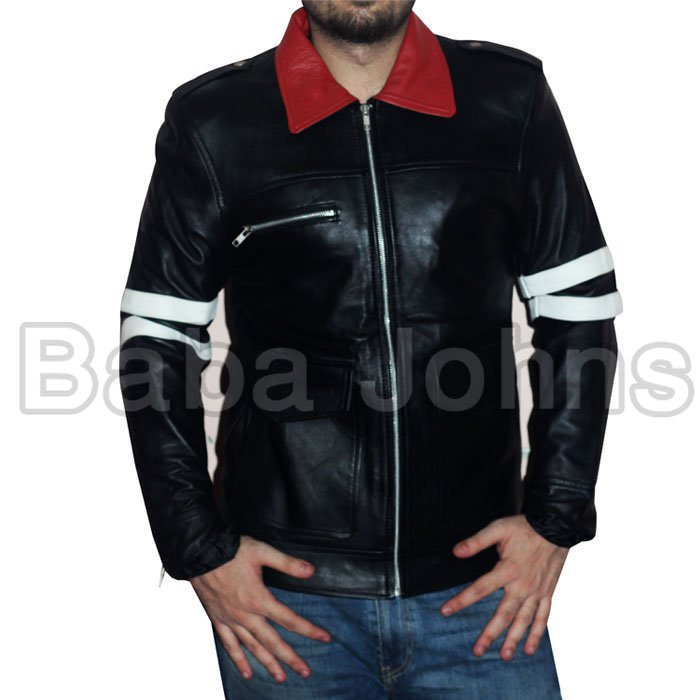 Alex Mercer Prototype PS3 Action Game Men's Leather Jacket With Embossed Dragon