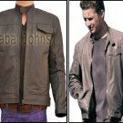 Transformers 3 Shia Labeouf Grey / Black Slim Fit Bomber Style Leather Jacket