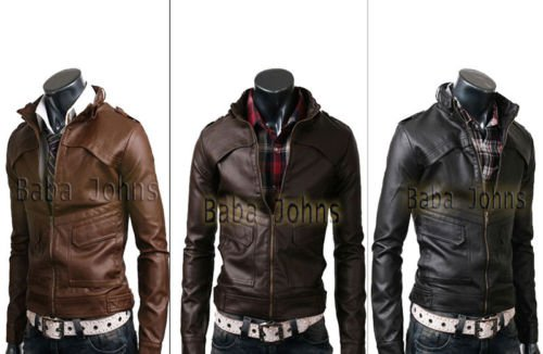 Men's Strap Slim Fit Bomber Genuine / Faux / PU Leather Fashionable Jackets