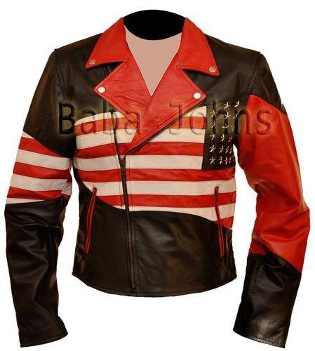 American Flag Vintage Brando Slim Fit Motorcycle Rider Men�s Leather Jacket