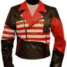 American Flag Vintage Brando Slim Fit Motorcycle Rider Men's Leather Jacket