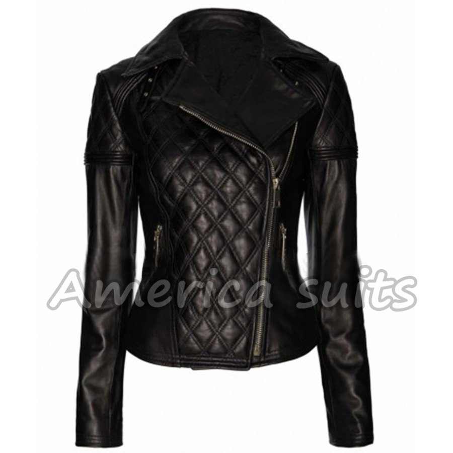 Baleza Womens Ladies Leather Quilted Sexy Biker Full Sleeves Zip Up Jacket