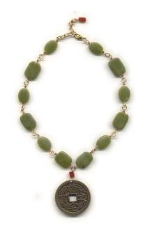 Green Jade and Carnelian Necklace - Featuring Bronze Oriental Pendant
