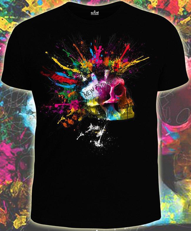 Punk sceleton t-shirt Glow under UV blacklight party club dubstep bones skull hell death rock neon