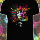 Punk sceleton t-shirt Glow under UV blacklight party club dubstep bones skull hell death rock neon