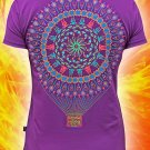 Balloon-fractal, psychedelic rave t-shirt for party glows under black light