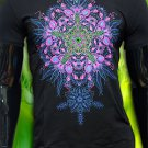Bio-fractals, psychedelic rave t-shirt for party glows under black light