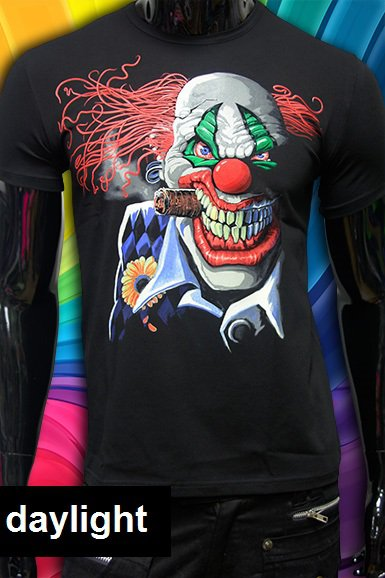 Hardcore clown rave psychedelic t-shirt  fluorescent dj party club psy drum and base dubstep