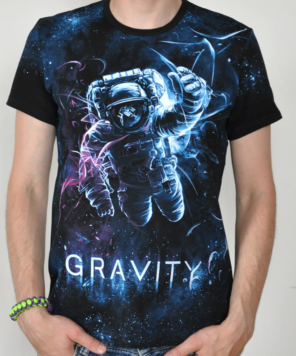 Astronaut rave psychedelic tshirt Glow under UV black light  psy trance lsd gravity space