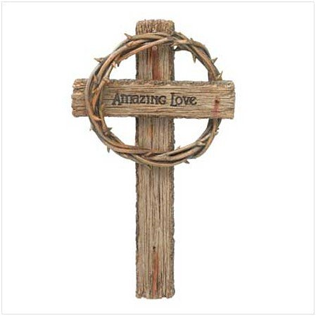 "3756700: Crown of Thorns ""Amazing Love""  Wall Cross-13"" High"