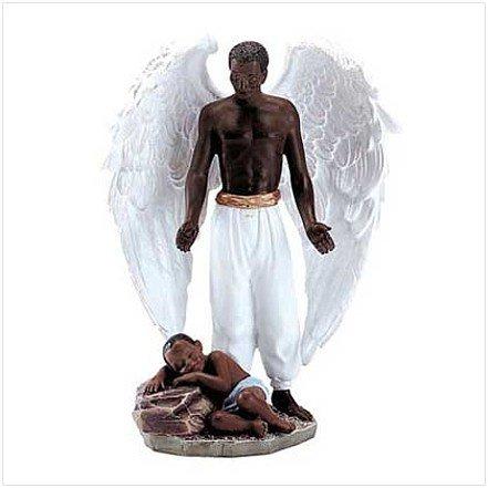3027800:  Black Male Guardian Angel Figurine