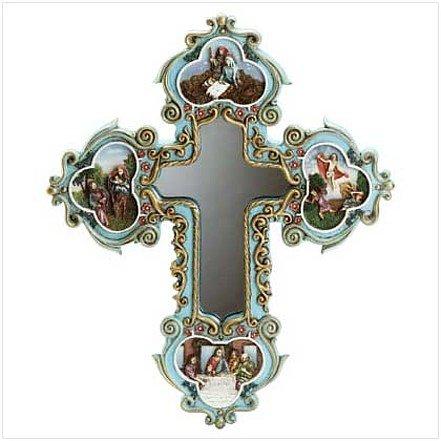 "3409100: Scenes of the ""Life Of Jesus"" Cross Light-Up Mirror"