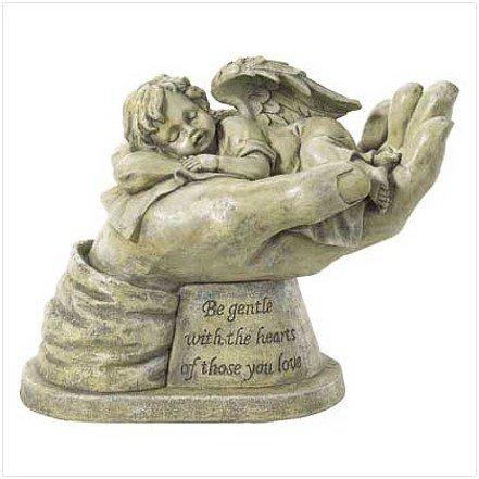 3796700: Adorable Sleeping Cherub in Hand Sculpture - Religious Decor