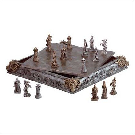 3530100: Alabastrite Medieval Dragons & Knights Chess Set