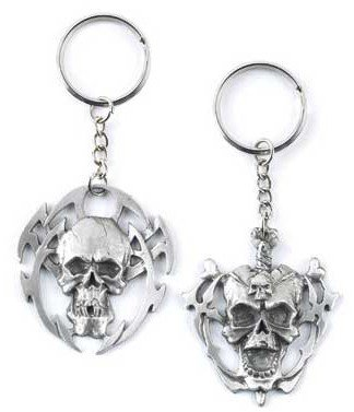 3822100: Heavy Pewter Skull Keychain Set (2) - Only 2 sets left oos?