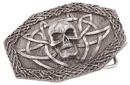 3830000: Pewter Celtic Skull Belt Buckle - Only 2 left, discontinued