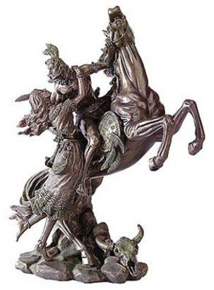 3008700: Liberty Bronze Collection Indian Lovers & Horse Sculpture