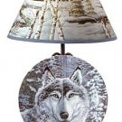 3377000: WOLF IN SNOW PLATE/RACK/LAMP