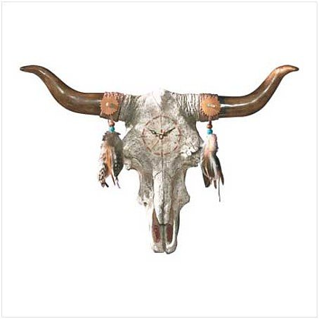 3515100: Bull Skull Wall Clock - Southwestern Decor