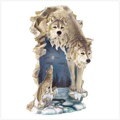 3795700: Large Size Two Wolves Night Light/Lamp