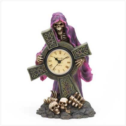 3707100: Spine Chilling Skeleton Grim Reaper Clock With Cross