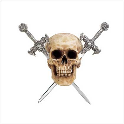 3707900: SALE Detailed Faux Human Skull with Two Metal Swords