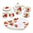 3820900: Miniature Heart Shaped Red Rosebud Tea Set