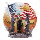 3242000: Firemen Raising American Flag Plate