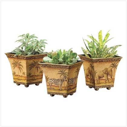 3562900: 3 Pc set Nested Safari Tin Flower Pots - Home and Garden Decor