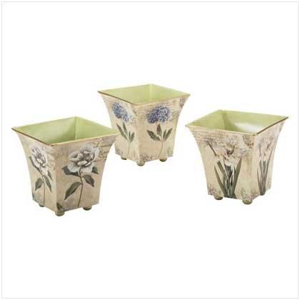 3563000: Nested Flower Tin Flower Pots - Home & Garden Decor