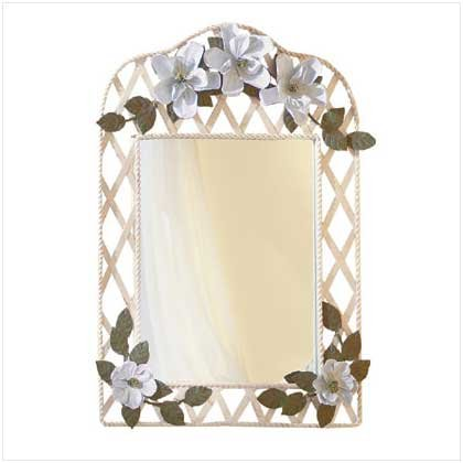 3359200: Metal Magnolia Blossoms Lattice Mirror - Almost 2 Feet Tall