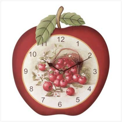 3532000 Brightly Painted Wood Apple Clock
