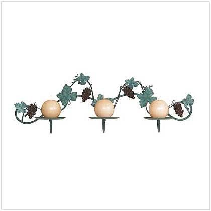 Metal Grapes Wall Candleholder