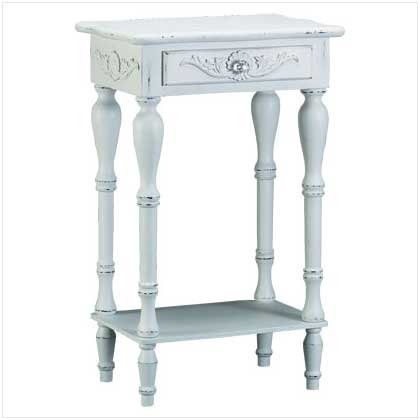 3435300: SALE: Distress White Carved Wood Side Table