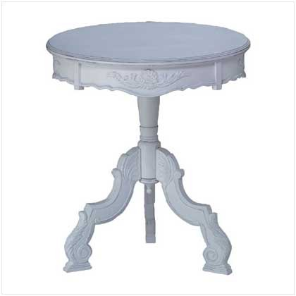 3470800: SALE: Distress White Wood Round Carved Table