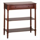 3503900: Birch Veneer Wood Console Table with Drawer & Shelves