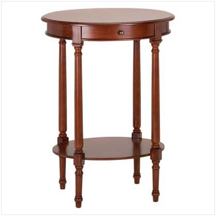 3504000: SALE: Wood Oval Table with Drawer and Shelf-Birch Veneer