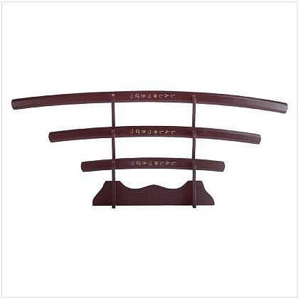 3530400: Ninja Swords with Wood Stand - 4 Pc Set